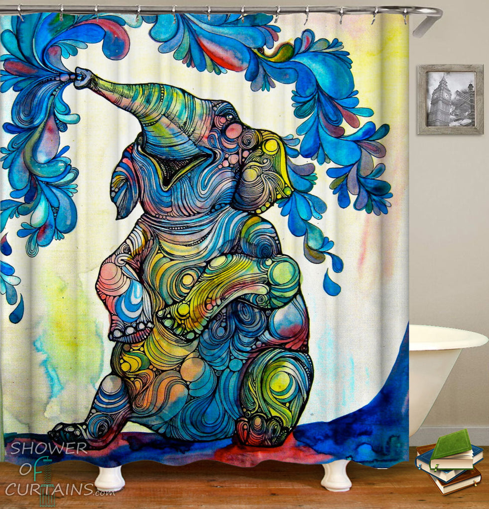Elephant Shower Curtains of Multi Colored Happy Elephant