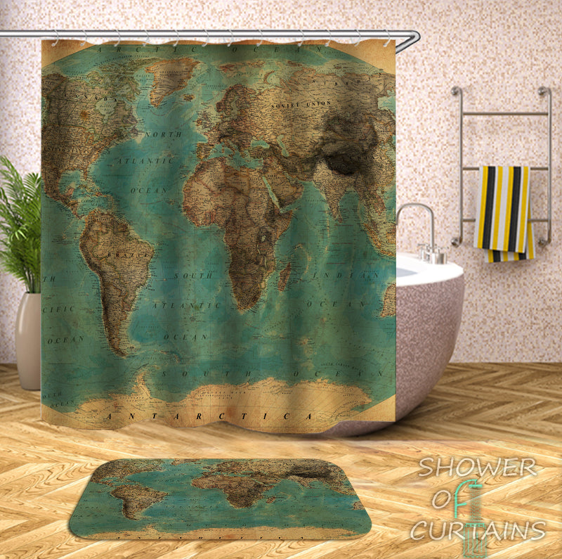 Embossment World Map Shower Curtain