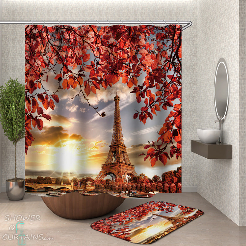 Fall Eiffel Tower Shower Curtain