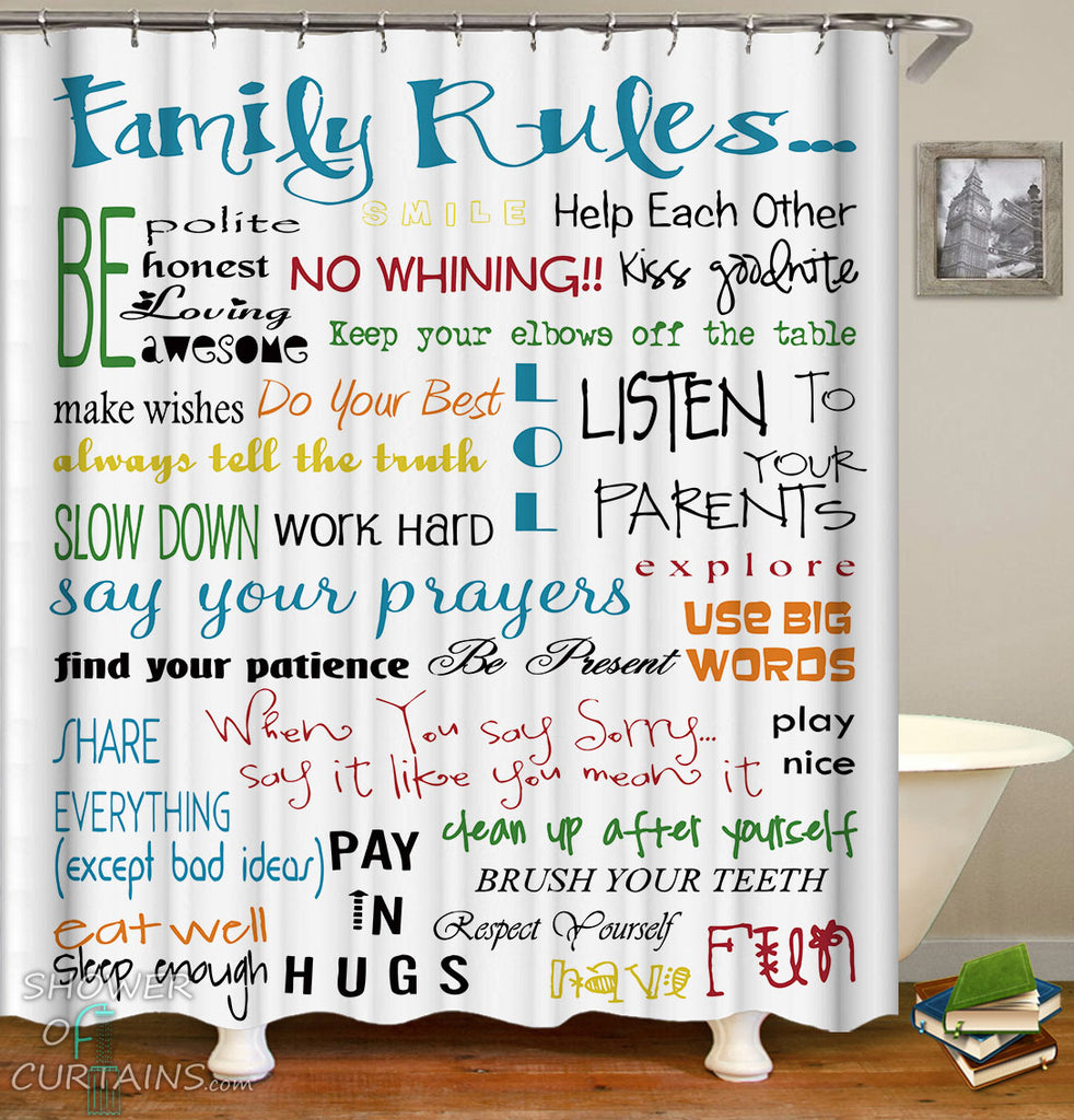 Family Rules Shower Curtain - Multi Colored Bathroom Decor For Kids