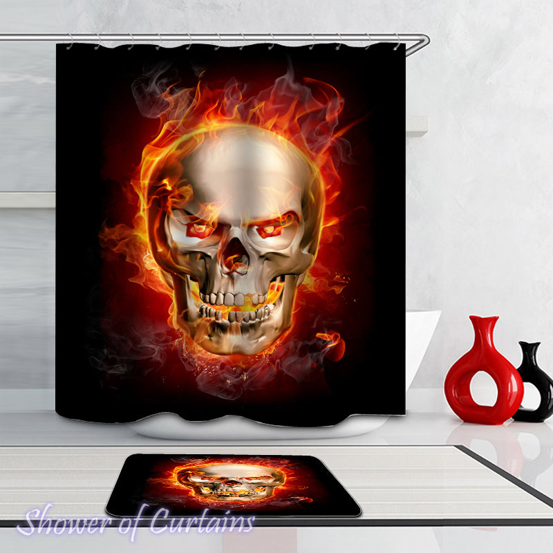 Fire Flames Skull Shower Curtain
