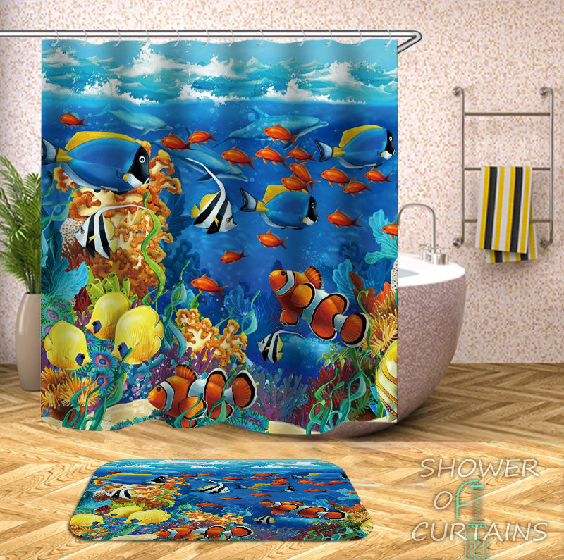 Fish And Coral Shower Curtains of Multi Colored Ocean's Life