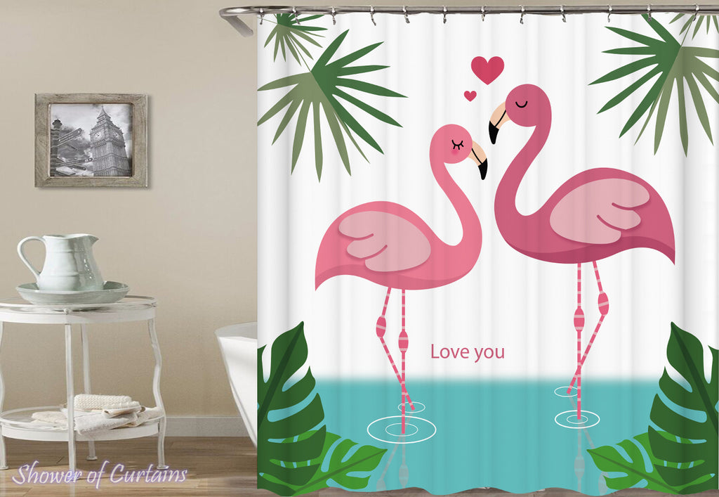 Flamingo Shower Curtain - Flamingo's Love