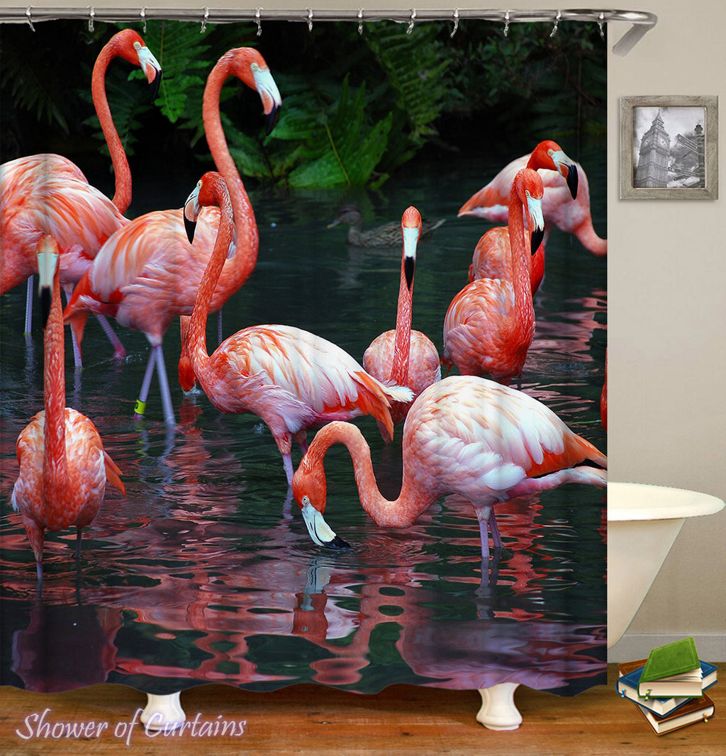 Flamingo Shower Curtain - Flamingos' Lake