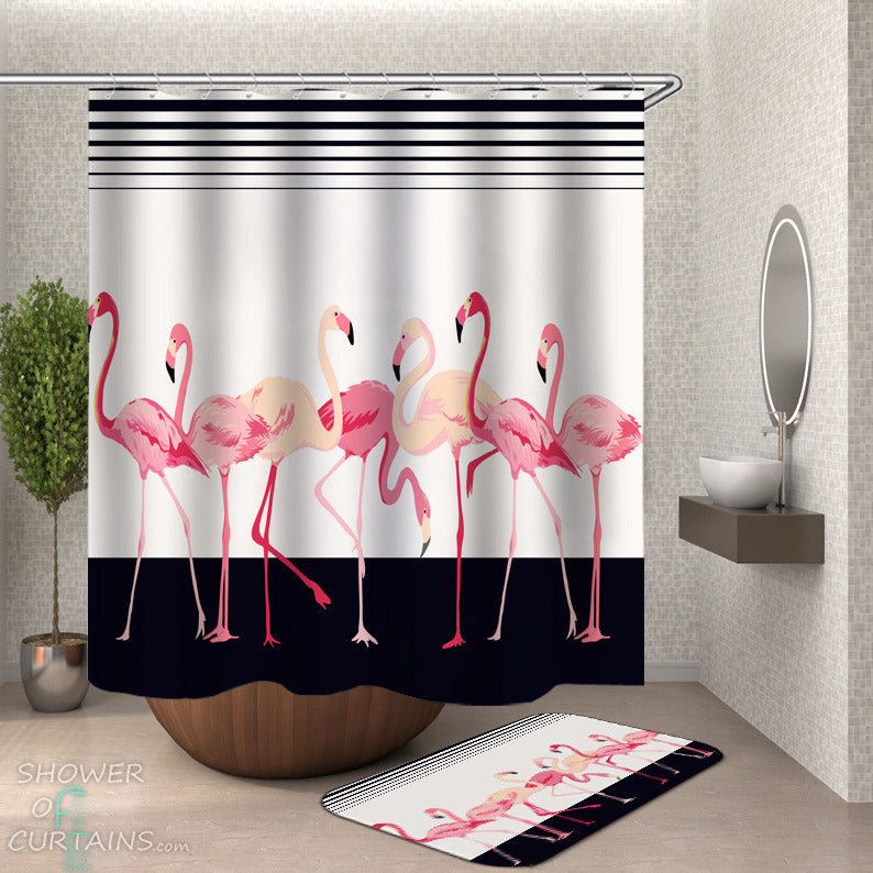 Flamingo Shower Curtain - Flamingos Over Black and White