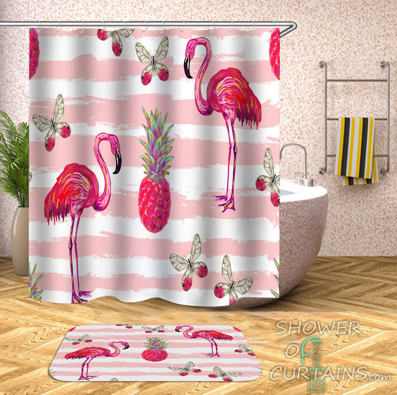 Flamingo Shower Curtain - Flamingos Pineapple And Butterflies Pinkish Vibes