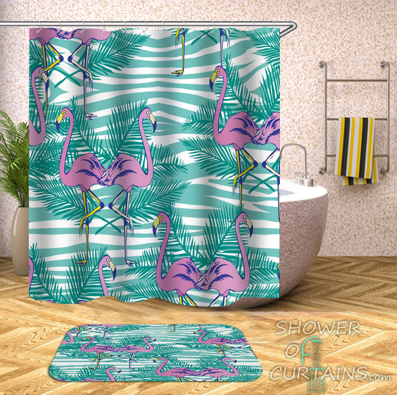 Flamingo Shower Curtain - Flamingos Tropical Vibes