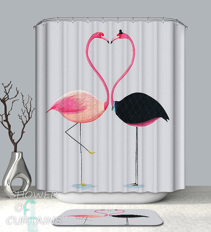 Flamingo Shower Curtain - Heart Shape Flamingos