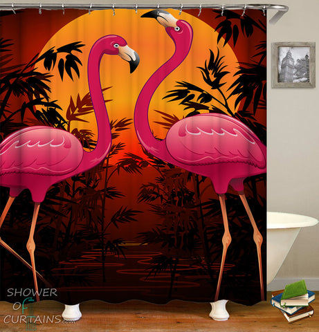 Flamingo Shower Curtain - Tropical Sunset Flamingos Shower Curtains