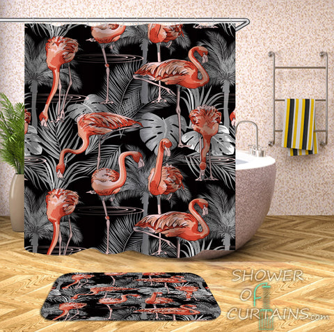 Flamingo Shower Curtain Features Flamingos In The Dark