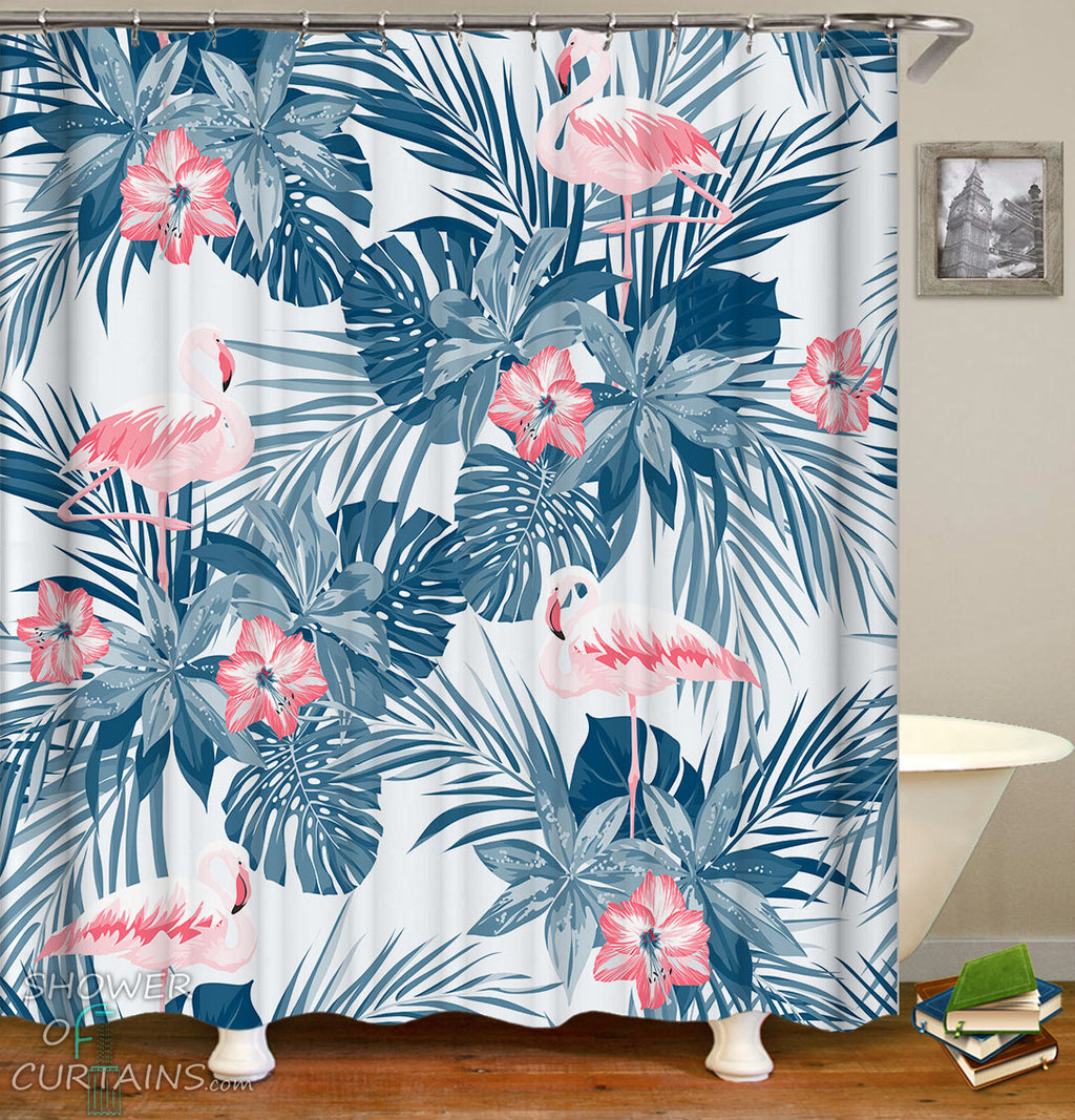 Flamingo Shower Curtain of Bright Flamingo And Tropical Green