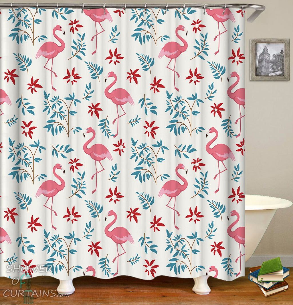 Flamingo Shower Curtain of Flamingo Pattern