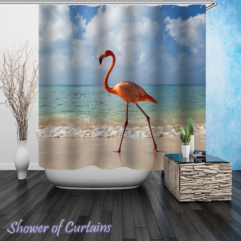 Flamingo Shower Curtain of  Single Flamingo On The Beach Shower Curtains