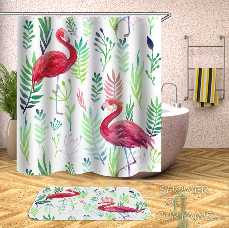 Flamingo Shower Curtain of Two Flamingos