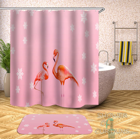 Flamingo Shower Curtain of Two Flamingos Pink Background