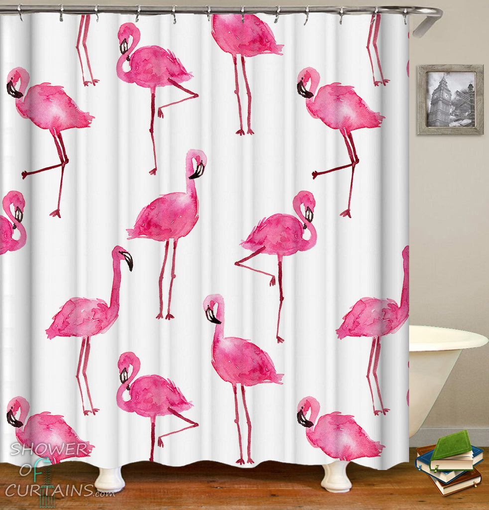 Flamingo Shower Curtain of Watercolor Flamingo Pattern