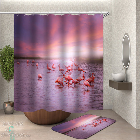 Flamingo Shower Curtains - Flamingos In The Lake