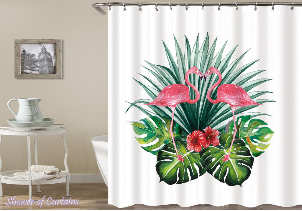 Flamingo shower curtain - Flamingos In The Tropic