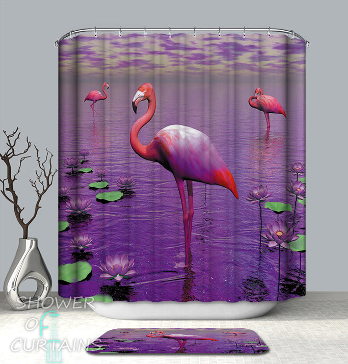 Flamingos And Purple Shower Curtain
