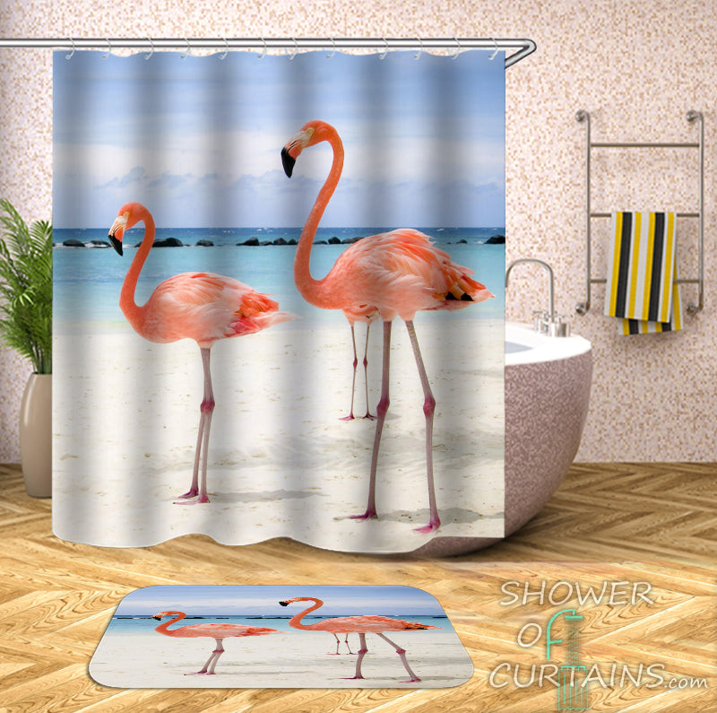 Flamingos On The Beach Shower Curtain