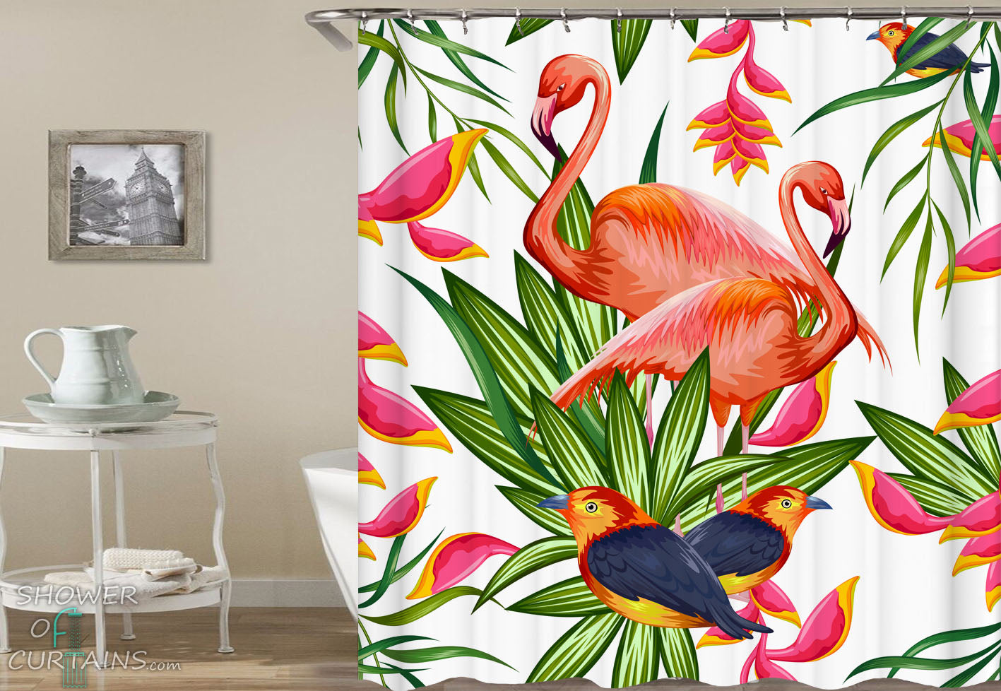 Flamingos Shower Curtain Of And Songbirds Vibrant Colors