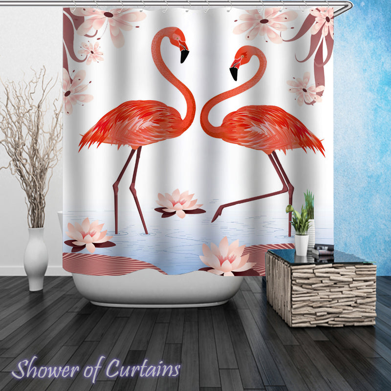 Flamingos Shower curtains theme Digital Painting