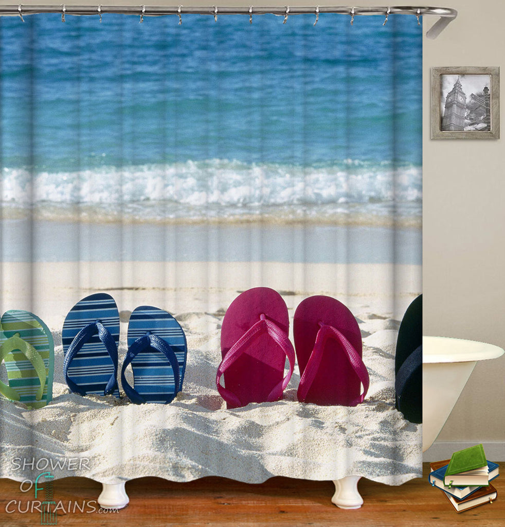 Flip Flop Shower Curtain fit Beach Shower Curtain