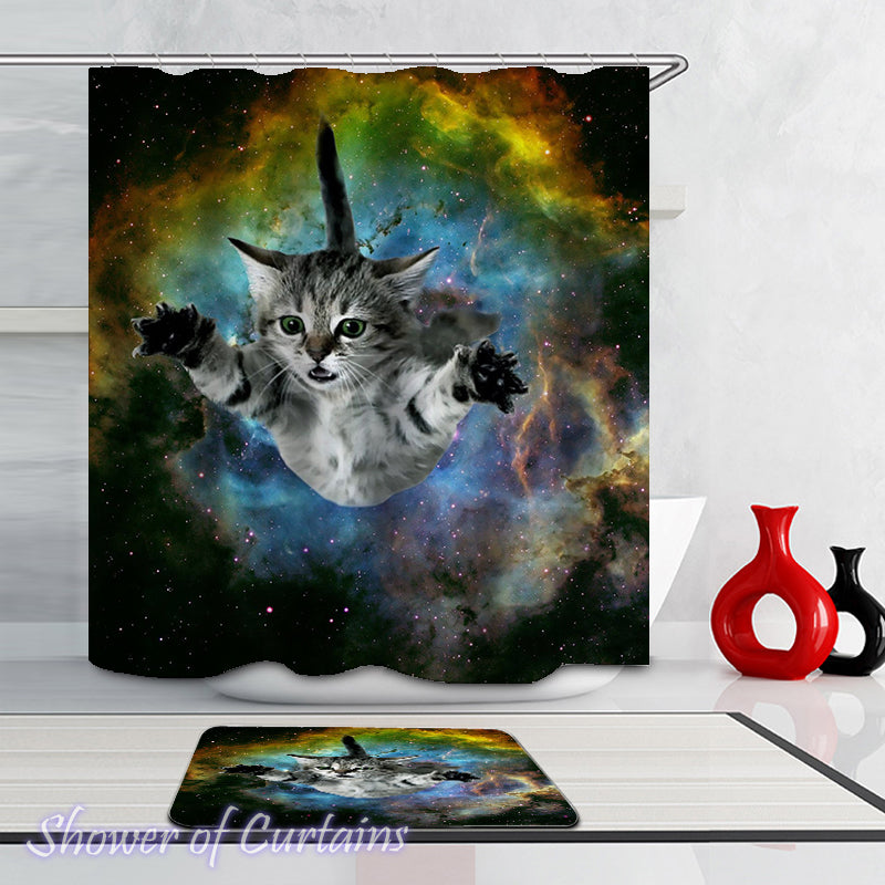 Shower Curtains | Floating In Space Cat – Shower of Curtains