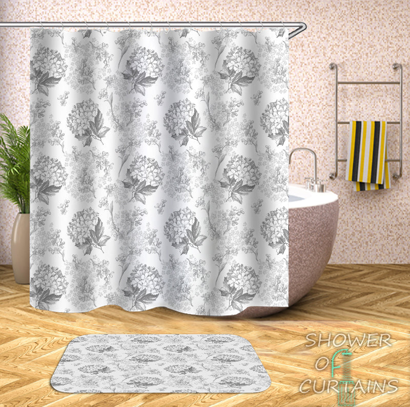 Floral - Flower Bouquets Black And White Shower Curtain