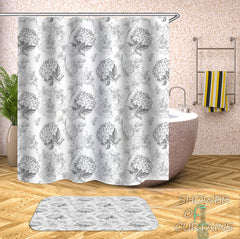 flower-bouquets-black-and-white-shower-curtain