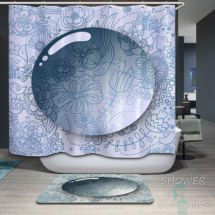 Floral Background For A 3D Bubble Shower Curtain