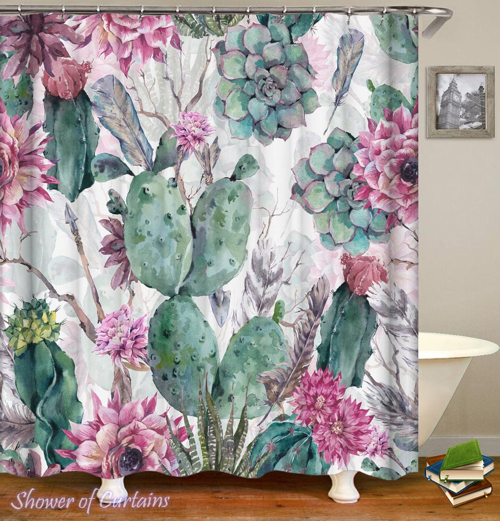 Floral Cactus Shower Curtain