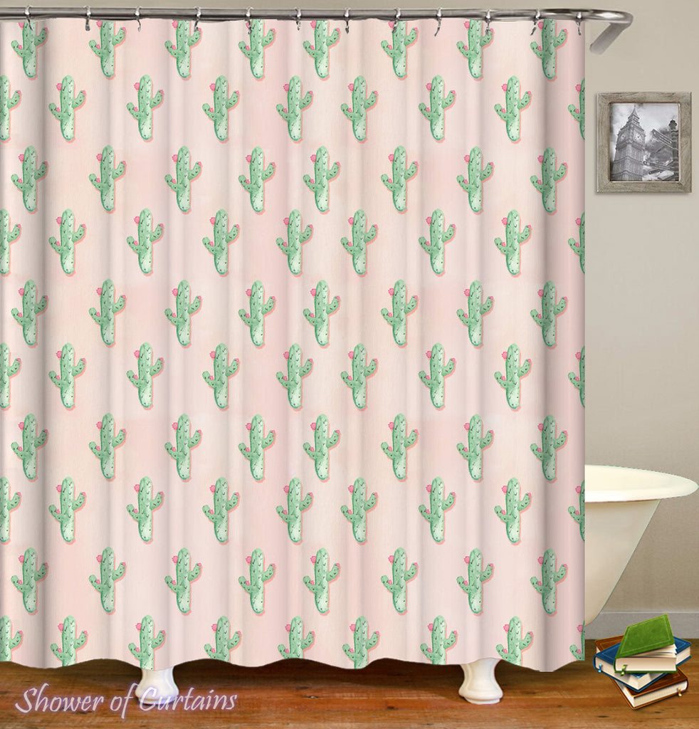 Floral Mini Cactus Shower Curtain