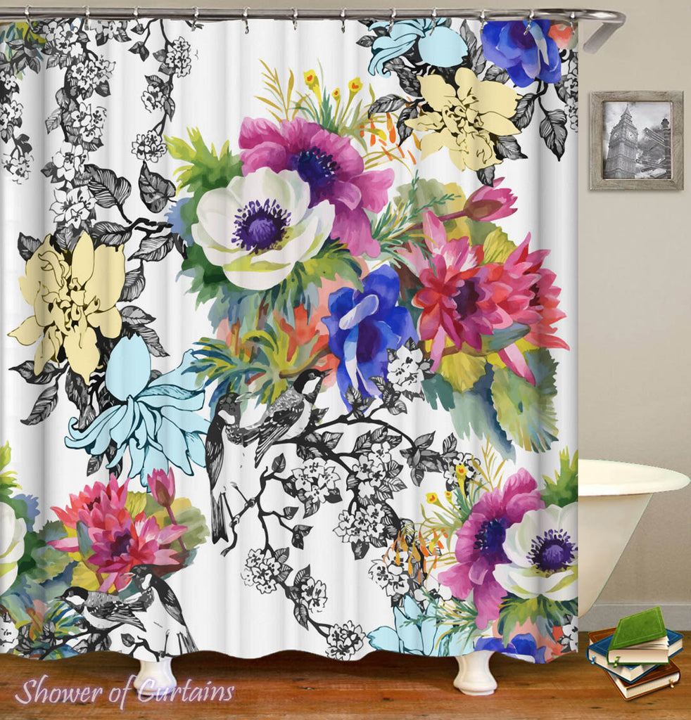 Floral Shower Curtain - Black and White Colorful