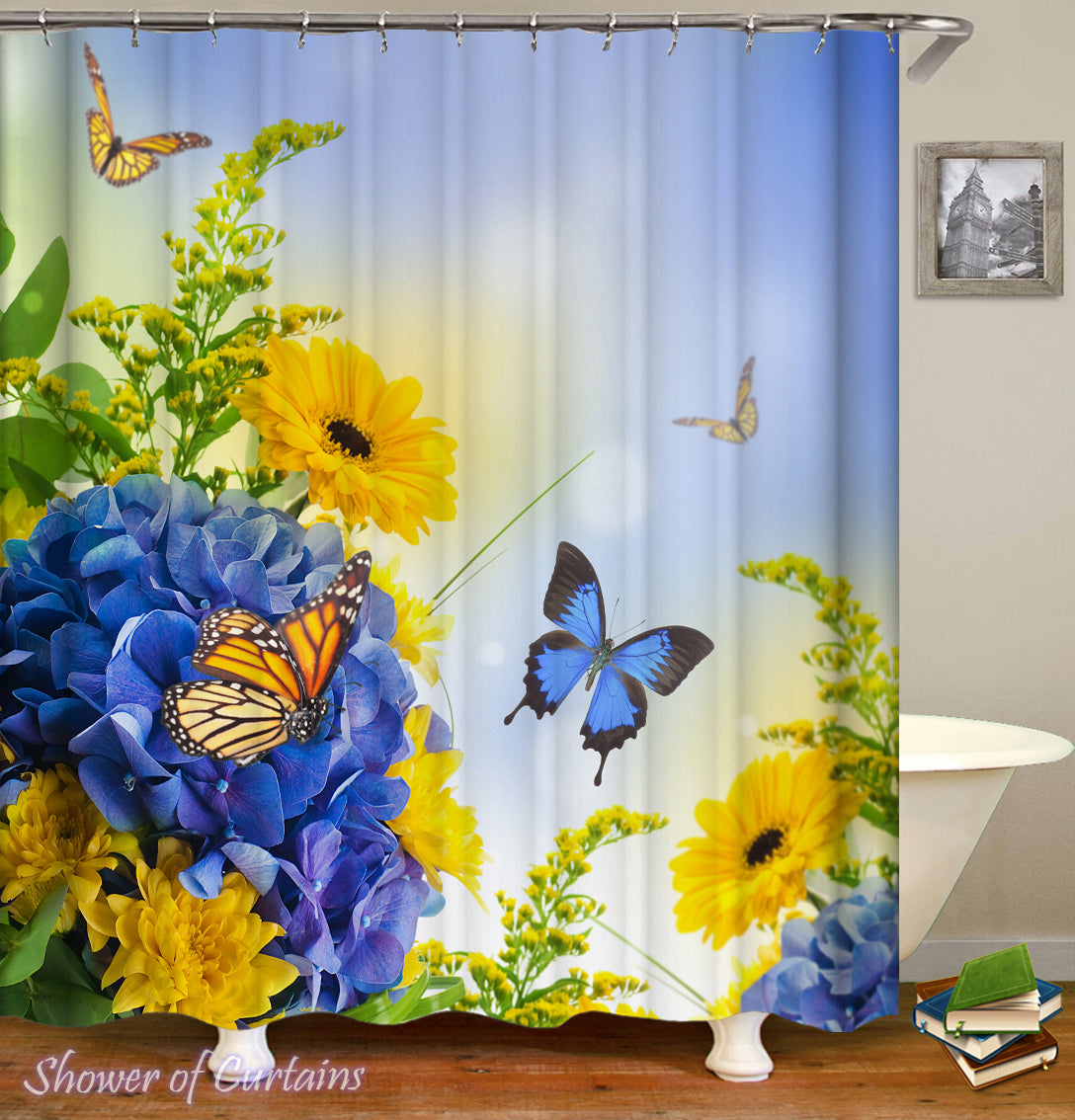 Shower Curtains Blue And Yellow Flowers Ft Butterflies Shower Of Curtains