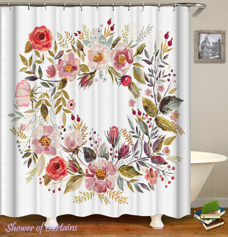 Floral Shower Curtain - Circle Of Flowers