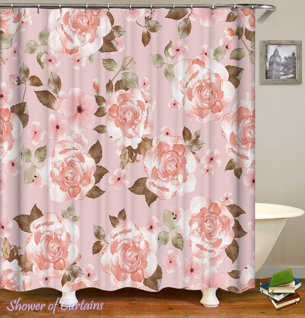 Floral Shower Curtain - Classic Pinkish Flowers