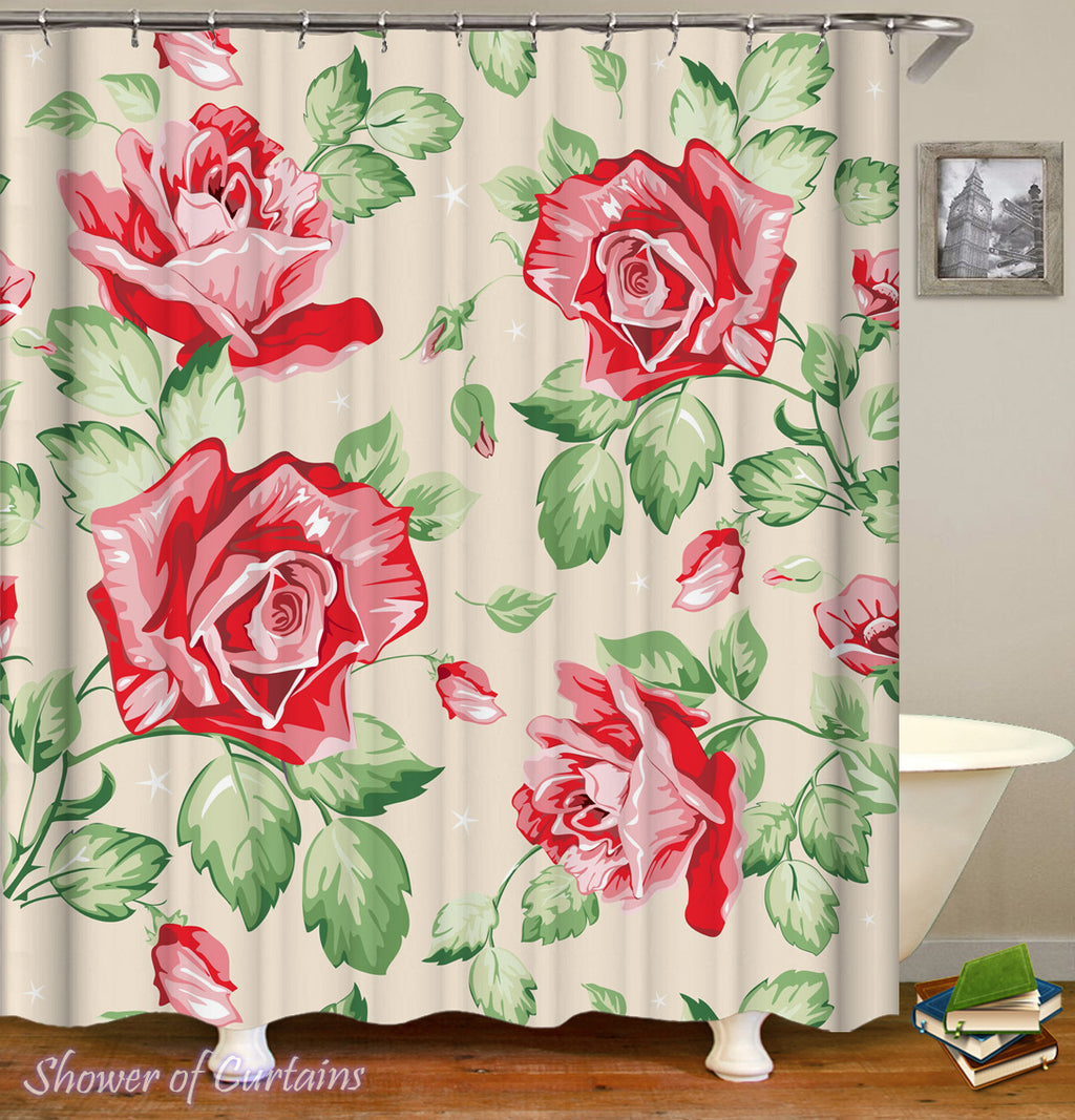 Floral Shower Curtain - Classic Roses Drawing