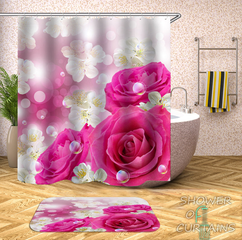 Floral Shower Curtain - White And Pink Shower Curtain