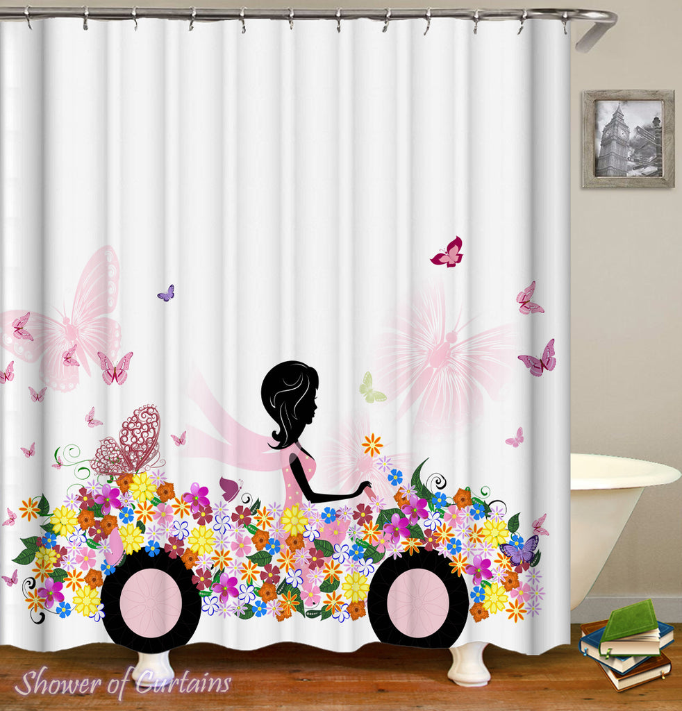 Floral Shower Curtain of Black Figure In A Flowery Car