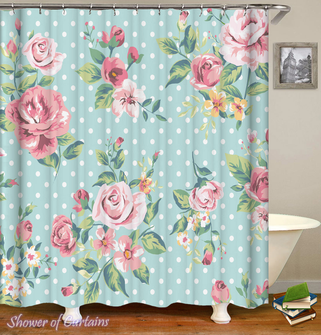 Floral Shower Curtain Of Classic Over Polka Dots