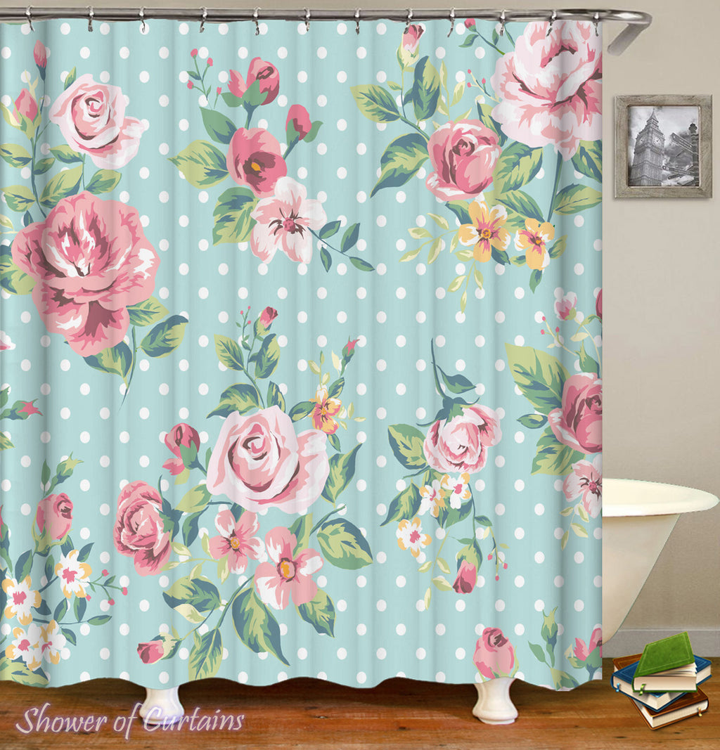 Floral Shower Curtain of Classic Floral Over Polka Dots