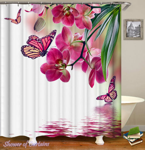 Floral Shower Curtain of Pinkish Butterflies And Flowers