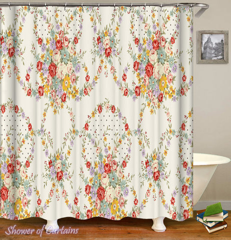 Floral Shower Curtain of Round Flowers Bouquets