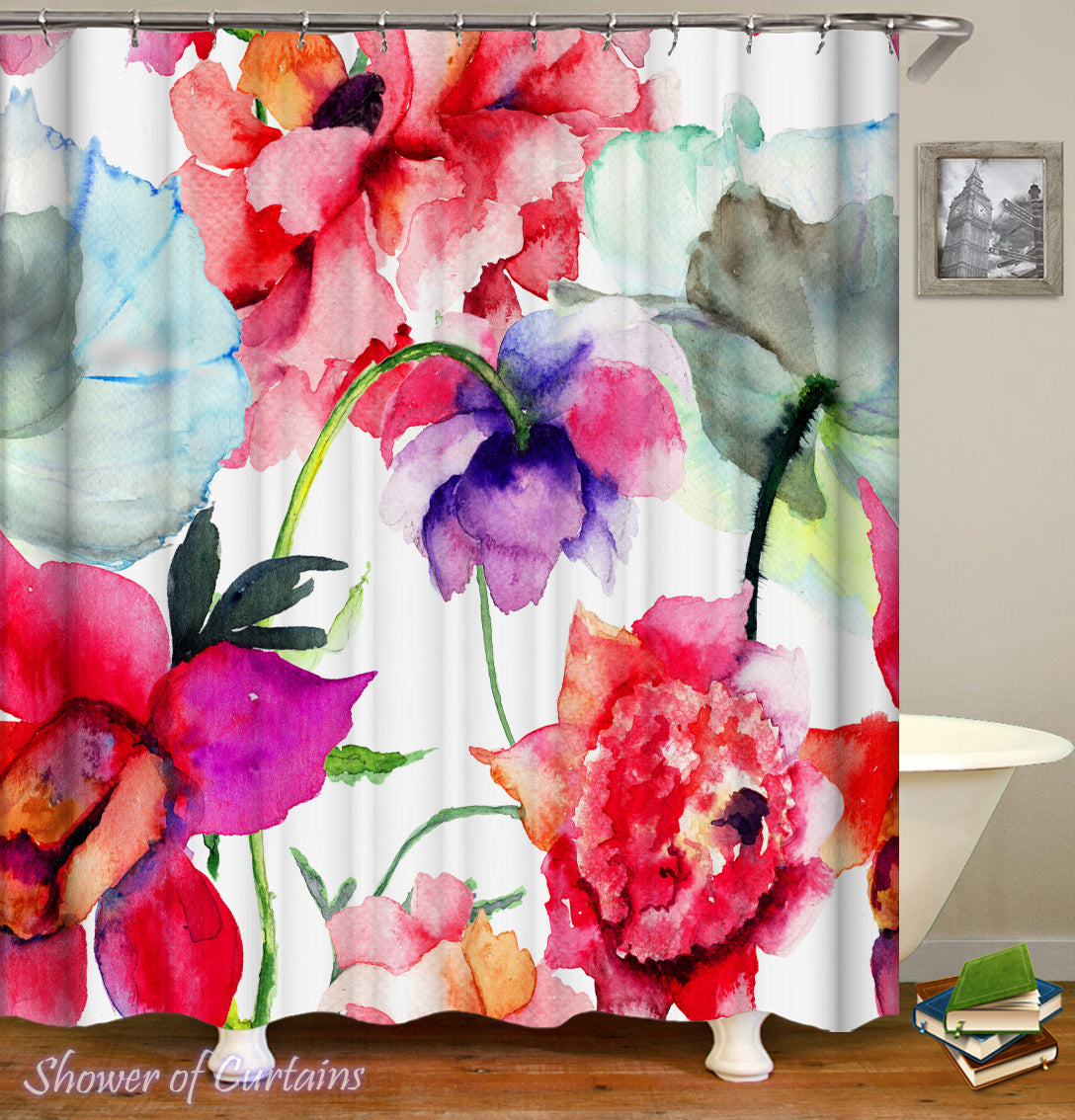 Shower Curtains Flowers Water Painting Shower Of Curtains