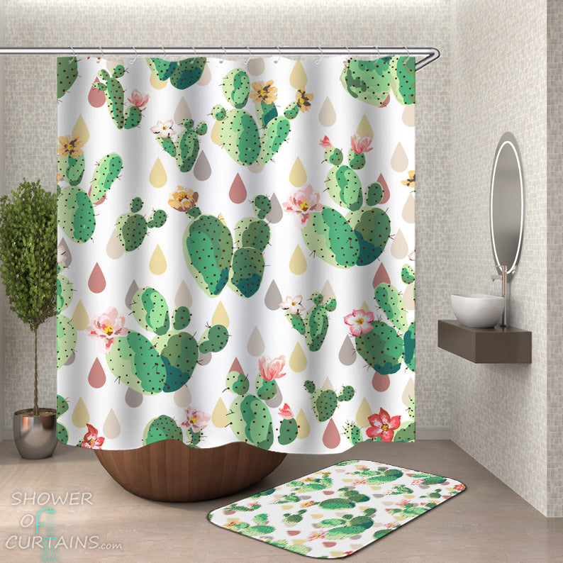 Flowery Cactus Shower Curtain