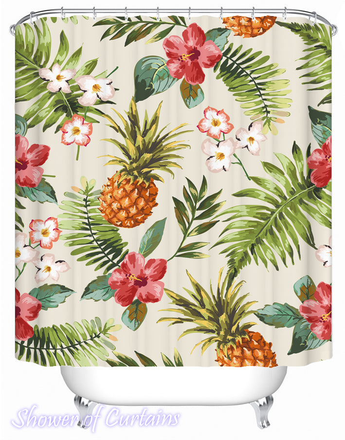 Flowery Pineapple Shower Curtains