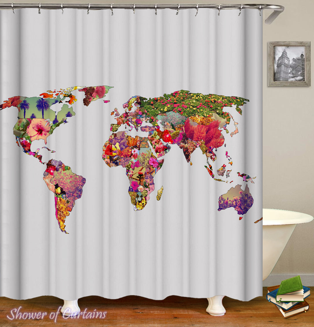 Shower curtains flowery world map shower of curtains flowery world map shower curtain gumiabroncs Images