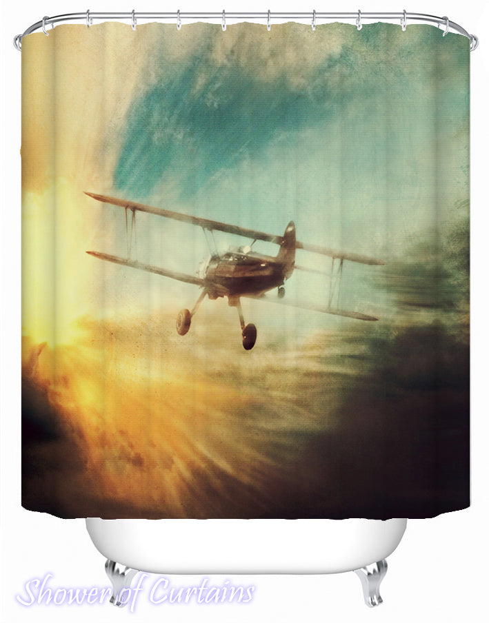 Flying Toward The Sunset shower curtain