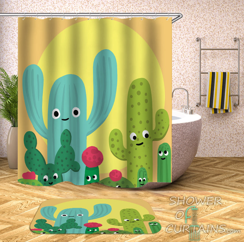 Friendly Cactus Shower Curtain